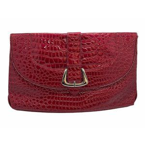 White House Black Market Red Faux Snakeskin Clutch